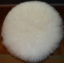 Round Mongolian lamb fur pillow Natural White 18 Tibetan genuine Fur Cushion