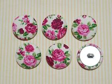 6 Royal Flower Fabric Covered Buttons - Pink (30mm)