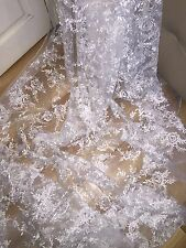 "1 MTR NEW WHITE EMBROIDED CRYSTAL BRIDAL TULLE LACE NET FABRIC..58"" WIDE £9.99"