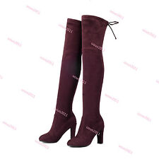 Fashion Womens Block Heel Stretchy Over The Knee High Boots Knight Boots Plus Sz