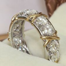 Women Diamonique CZ 10KT White&Yellow Gold Filled Eternity Wedding Ring Sz 10/T