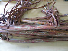 PONY SIZE  ENGLISH LEATHER RAISED STITCHED TAN NOSE BANDS