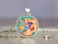 Vintage Bird Cabochon Tibetan silver Glass Chain Pendant Necklace XC37