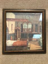 "Antique Italian Florentine Painted Wood Picture Frame 9""x8.75"" W/ Print"