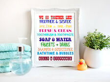 Brother and Sister Bathroom Wall Art Print - Kids Bathroom Decor-Personalized
