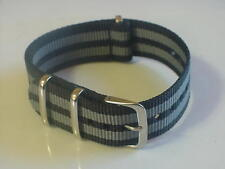 Black/Grey JAMES BOND NATO 22mm Military strap band fit ZULU Time Watch & others