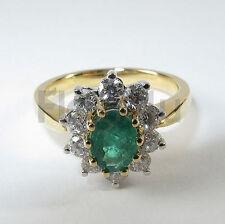 18k Oro Giallo/Bianco Diamante Smeraldo Anello Di Fidanzamento Cluster o/55 £ 2750 NUOVO