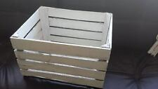 WHITE PAINTED EUROPEAN VINTAGE WOODEN APPLE FRUIT CRATE BUSHEL BOX SHABBY CHIC