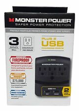 Monster Power EXP 350 USB Wall Tap Surge Protector - 3 Outlets w/ 2 USB Ports