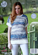 KNITTING PATTERN Ladies Easy Knit Drop Sleeve Lacy Tunic Super Chunky 4756