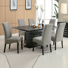 7 Pcs Contemporary Dazzling Base Black Rectangular Dining Table Gray Chair Set