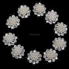10Pcs Crystal pearl rhinestone buttons DIY Dress Embellishment Round Button