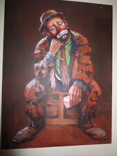 Barry Leighton Jones Original Painting Emmett Kelly Sitting/Elbow 36x48