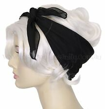 Pinup 50s BLACK Chiffon Square Head Scarf ~ RockAbiLLy PsyChoBiLLy ReTro ViNtagE