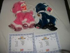 BUILD A BEAR MERRY MISSION TWINKLE & TINSEL PINK & BLUE JR REINDEER RARE NWT