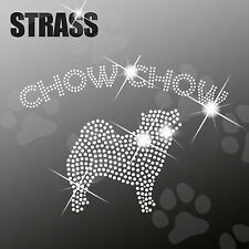 """Strass Steine Applikation Hund """"Chow Chow"""" Bügelbild, HotFix, ca. 18x12cm"""
