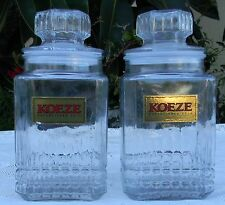 2 lot 2 Qt Koeze's Cookies Canister Glass Apothecary Jar Canister Container