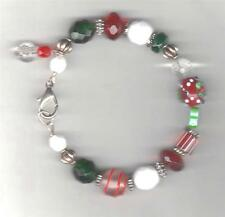 CHRISTMAS BRACELET BEADS CRYSTALS & SILVER BEADS