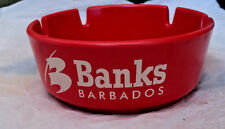 "Barbados Banks Beer Ash Tray Plastic 4"" Round New Pretty Red"