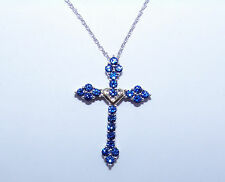 Sterling Silver/10k Yellow Gold Created Sapphire Cross Necklace: 1.3ctw   321