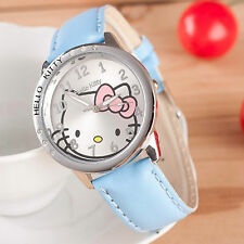Kids Girls Hello Kitty Light Blue Wrist Watch Analog Leather Strap Steel Back