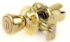 Door Knob Set, Tulip Keyed Entry, Polished Brass, Gold, Lion Locks LIO0107