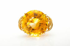 Vintage 1950s $5000 30ct Round Cut Citrine 18k Yellow Gold Cocktail Ring BIG