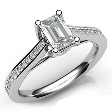 Brand New F/VS 0.80Ct Emerald Cut Diamond Engagement Ring Crafted in 950Platinum