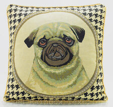 "Tapestry Pug Dog 18"" Cushion Cover Retro Vintage Print Beige Gold Black"
