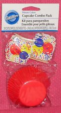 Red Cupcake Papers Combo Pack,Picks, Wilton,Primary Colors,Celebration Party