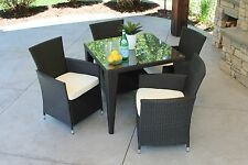 5 PC Outdoor Black Rattan Wicker Table Patio Set Furniture Dining Garden Yard