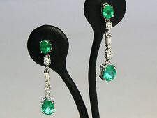 ~Oval Cut Natural Emerald & Diamond Dangle Earrings Set In Solid 14K White Gold~