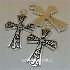 6pc Tibetan Silver CROSS Charm Bead Pendant Jewellery Making Accessories JP840