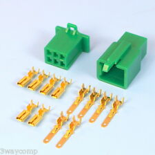 Quality 6 Way 2.8mm Mini Electrical Connector Kit Green Motorbike Motorcycle Car