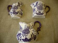 Three Cobalt Blue & White Wall Pitcher Planters Baum Brothers Formalities