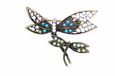 vintage two bronze crystal dragonflies brooch bag pin