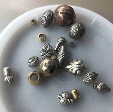 Vintage Sample Card Bohemian Style Brass & Metal Ornate Mixed Bead Lot