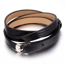 Mens Women Stainless Steel Leather Bracelet Bangle, Snake Skin Style, kb1441