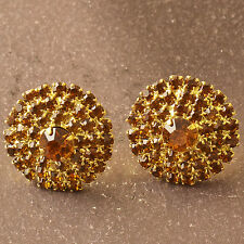 Around Brown Crystal 9K Yellow Gold Filled Womens Girls Stud Earrings F6205