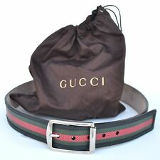 GUCCI New sz 90 - 36 Designer Authentic Mens Web Black Leather Belt 295331