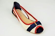 BALLET flats sandals pumps ballerinas WHITE RED NAVY new size 4uk 37eu