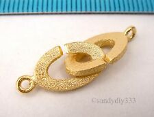1x REAL 18K GOLD plated STERLING SILVER STARDUST OVAL CLASP 8.2mm 20mm G216
