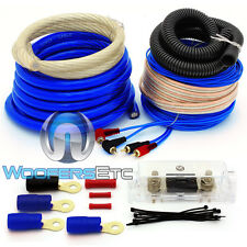 AK-012B 0 GAUGE BLUE 6000W COMPLETE POWER GROUND RCA ANL FUSE AMPLIFIER WIRE KIT