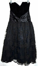 Scott McClintoch Black Velvet Top with Flowered Lace Skirt Long Dress Sz 10P