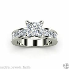 2.00 CT PRINCESS CUT CHANNEL SET ENGAGEMENT RING SOLID 14KT WHITE GOLD