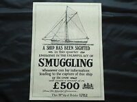 Smuggling Ship Poster 1782 Large Pub Sign Nice Framed- Bar Beer whiskey Gin Rum