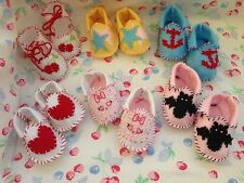 NEW 6 pairs felt rockabilly handmade baby girl shoes 110mm