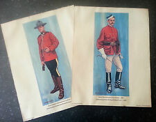 2 - Vintage Print-MILITARY UNIFORMS- RCMP Royal Canadian Mounted Police.
