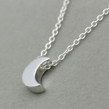 Fashion Women Silver Gold Chain Crescent Moon Pendant Necklace delicate Jewelry
