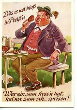 Large German Man Eats Fried Chicken Leg-Food-Picnic Outside-Modern Art Postcard